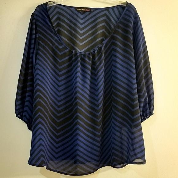 Heartsoul Tops Plus Size Black Blue Chevron Semi Sheer Blouse
